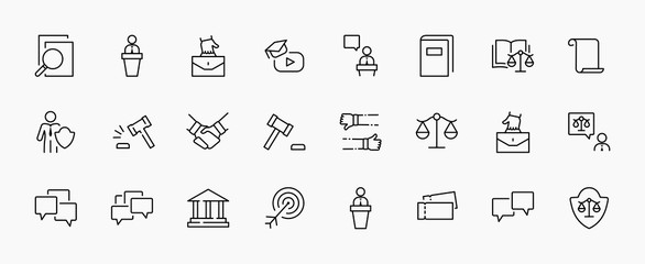 Fototapeta Set of Law and justice Vector Line Icons. Contains such Icons as weapon, arrest, authority, courthouse, gavel, legal, weapon and more. Editable stroke. 32x32 Pixels