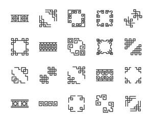 set of chinese border icons, asia, frame