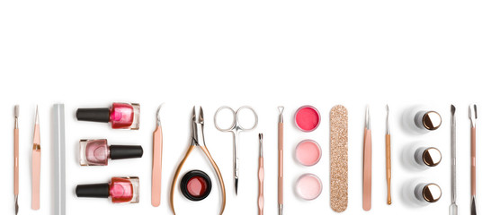 Fototapeten Maniküre Top view of manicure and pedicure equipment on white background