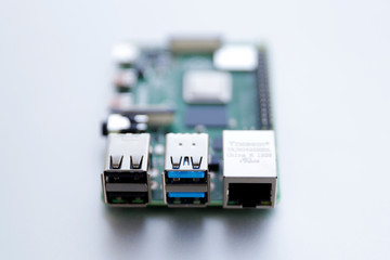 RJ45 and USB ports closeup on Raspberry Pi 4 board. The Raspberry Pi is a credit-card-sized single-board computer.  Wall mural