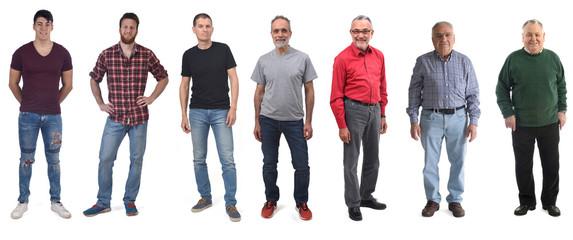 group of men aged twenty to eighty on white background Fototapete