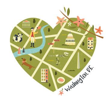 Washington illustrated map with landmarks and icon