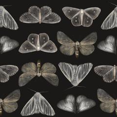 Tuinposter Vlinders in Grunge Seamless pattern Butterflies on black