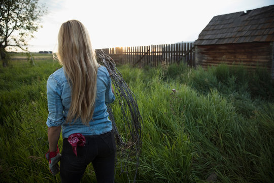 Young female farmer carrying barbed wire in tall grass on farm