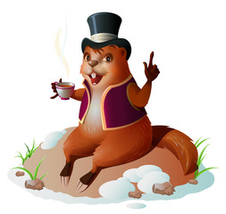 Groundhog forecaster climbed out of hole, sitting and drinking coffee. Groundhog Day