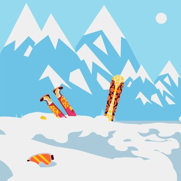 Snowboarder fell in snow, mountain avalanche, extreme winter sport, vector illustration