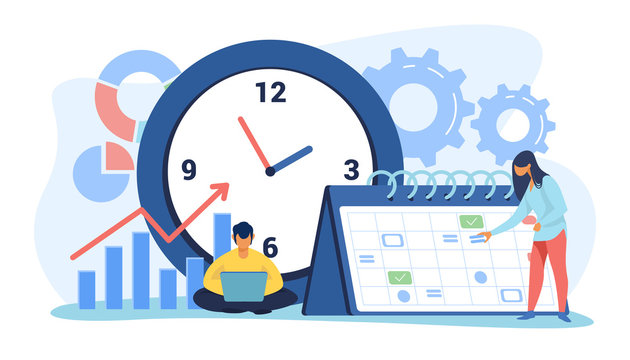 Timing and project scheduling. Managers working near calendar with marks and clock flat vector illustration. Time management, deadline concept for banner, website design or landing web page