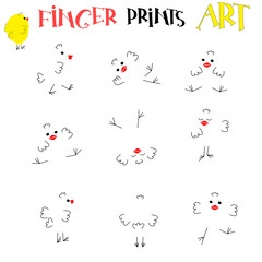 Finger prints art. Add patterns and decorate the picture cute chicken with different pose. Vector. Print or Poster Design for Kids, preschool, education, book