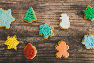 festive gingerbread cookies in different colors and shapes
