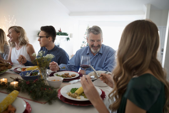 Family enjoying Christmas dinner at table