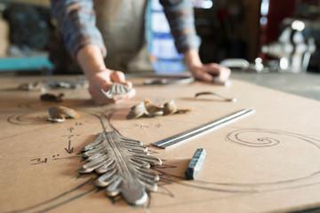 Creative blacksmith planning design Fotobehang