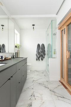 Modern home showcase bathroom with marble tile floor