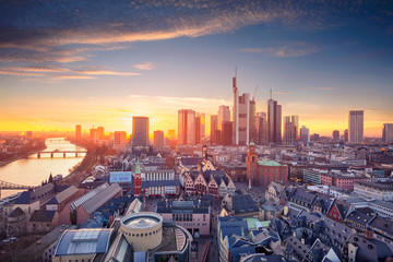 Frankfurt am Main, Germany. Aerial cityscape image of Frankfurt am Main skyline during beautiful sunset. Fotomurales