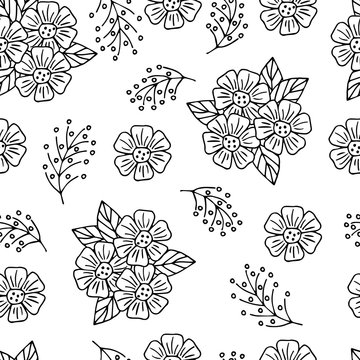 Seamless pattern with abstract hand-drawn flowers, coloring page