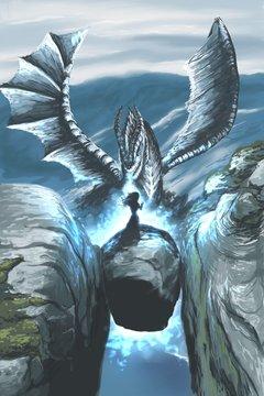 Blue dragon digital illustration