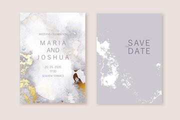 PrintModern card design. Marble texture. Gold, grey colors brochure, flyer, wedding invitation template.