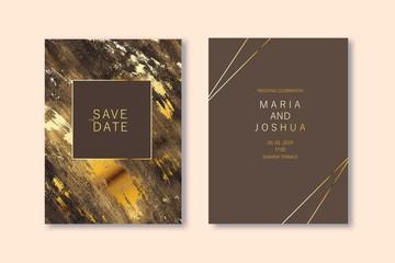 Modern card design. Marble texture. Gold, black colors brochure, flyer, wedding invitation template.