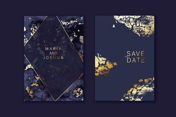 Modern card design. Marble texture. Gold, black colors brochure, flyer, wedding invitation template.