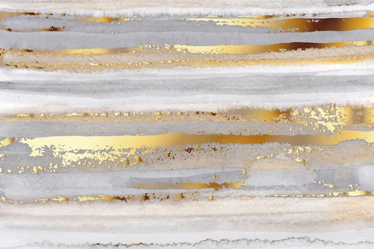 Luxury grey watercolor and gold texture background. Abstract hand drawn art.