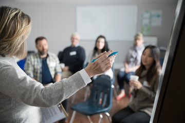 Woman at whiteboard leading support group in community center