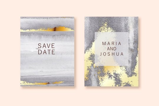 Modern card design. Marble texture. Gold, grey colors brochure, flyer, wedding invitation template.