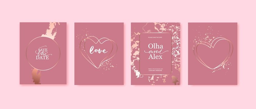 Pink cards with rose gold marble texture and heart shaped frames with splatters. Valentine's day.