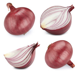 Onion collection isolated on white background. Onion clipping path.