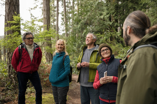 Active senior couples with trail guide hiking in woods