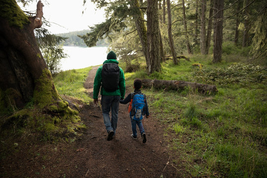 Affectionate father and son backpacking, holding hands in woods
