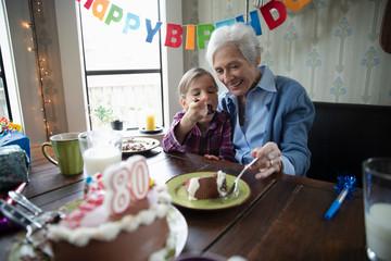 Grandmother and granddaughter celebrating birthday, sharing cake