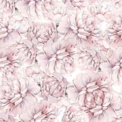 Beautiful hand-drawn bouquet of white peonies. Peony seamless pattern. Floral background. Endless pattern of flowers. Watercolor illustration. For backgrounds, textiles, wrapping papers