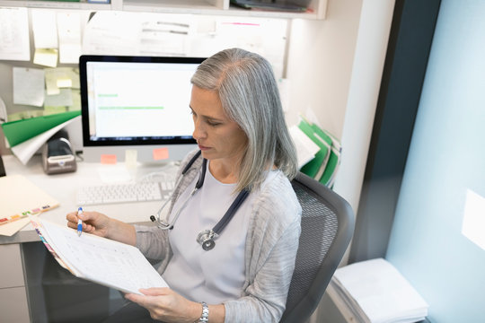 Female doctor reviewing medical record in clinic office