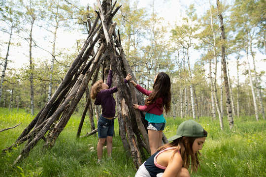 Girl friends making teepee with logs in woods