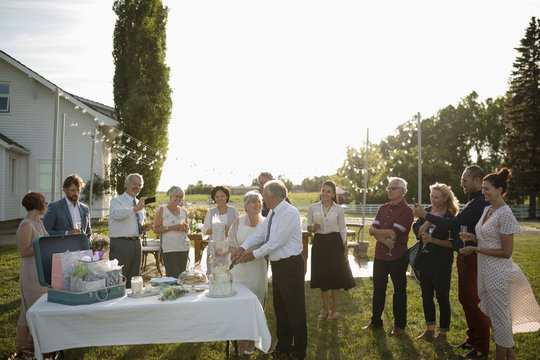 Friends watching senior bride and groom cutting wedding cake at rural wedding party