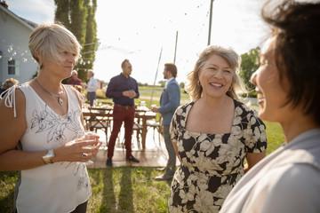 Women friends talking at wedding reception in sunny rural garden Fotomurales