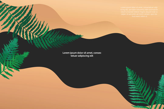 Poster template with fern and bronze waves metalic polish. Basis universal design for flyers, cards, branding and presentations