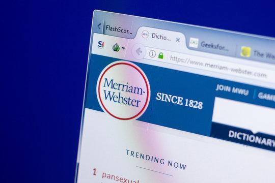 Ryazan, Russia - May 08, 2018: Merriam-Webster website on the display of PC, url - Merriam-Webster.com.