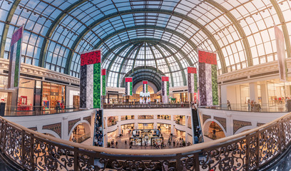 27 November 2019, UAE, Dubai: Panoramic view of the interior of the magnificent Emirates Mall, decorated for the celebration of national day