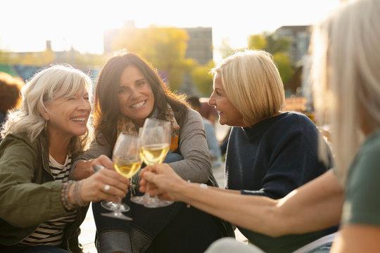 Mature women friends toasting white wine glasses in park
