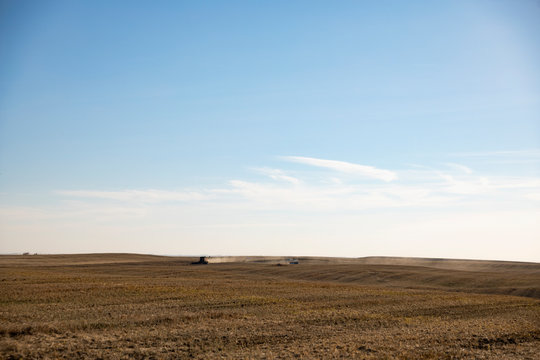 Combine harvesters harvesting sunny crop in distance