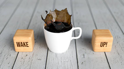 """cup of coffee and cubes with text """"wake up"""" on wooden background"""