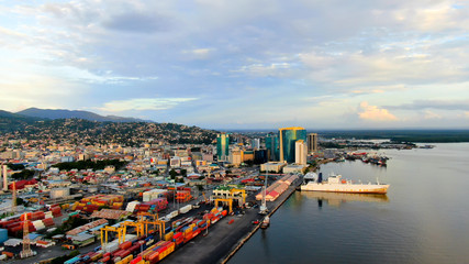 Aerial view of Port of Spain / Trinidad and Tobago, port, container terminal, government buildings Wall mural