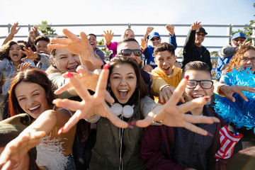 Excited fans cheering from bleachers at baseball game