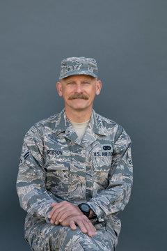 Portrait confident male air force soldier