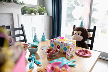 Teddy bear sitting at birthday party table