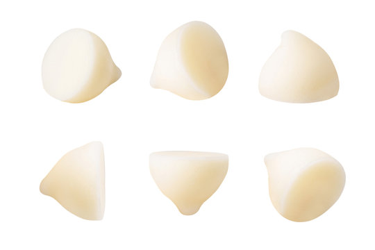 white chocolate piece isolated on white background