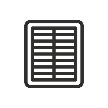 Air cabin filter outline icon, car air filter isolated vector icon