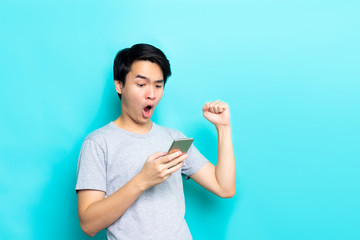 man Looking at phone happy time
