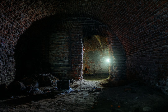 Dark dungeon under the old Prussian fortress