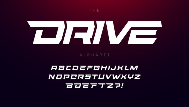 Drive font bold italic letters with dynamic slant and geometric cut for speed race, battle, fast delivery or fight poster driver alphabet vector typography design.